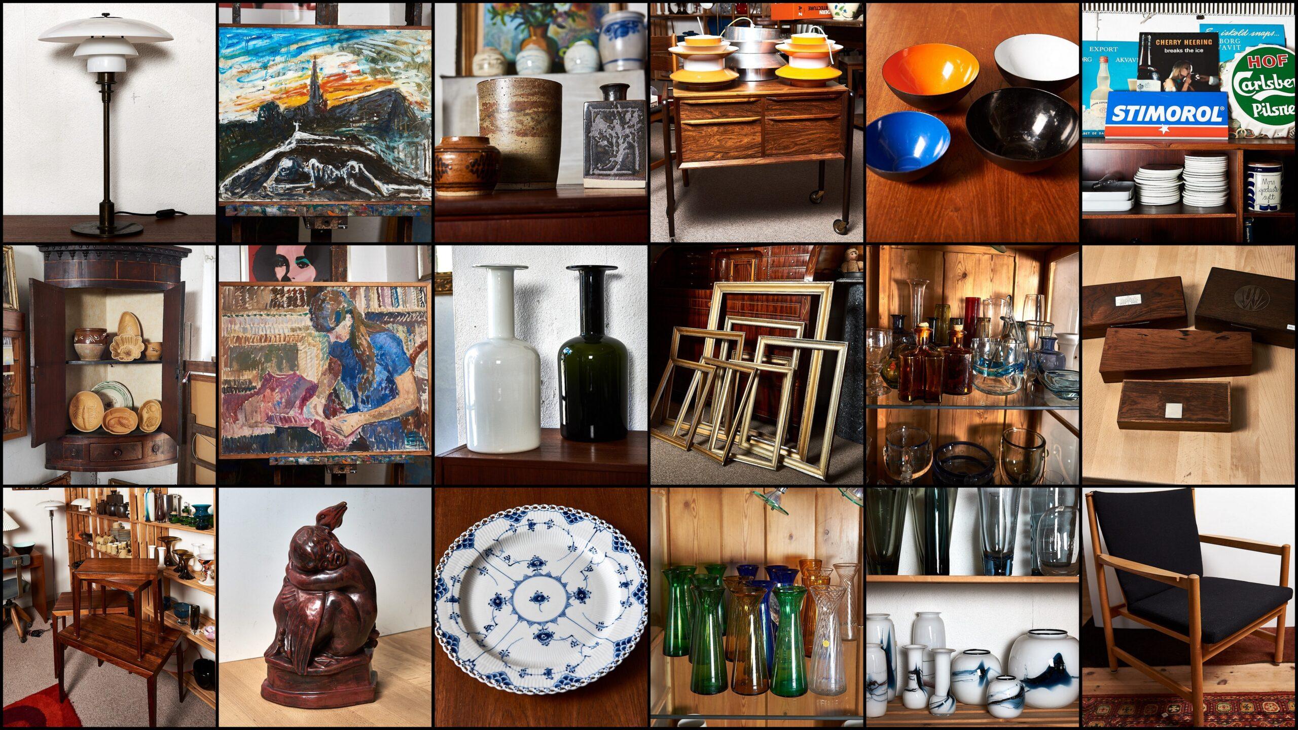 Et udvalg af varer i Grevinge Kunst og Design